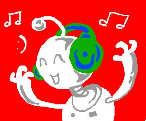 Robot listening to headphone Music :)