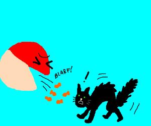 Poke ball throws up goldfish crackers on cat