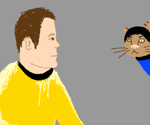 Capt Kirk befuddled by Spock the Cat