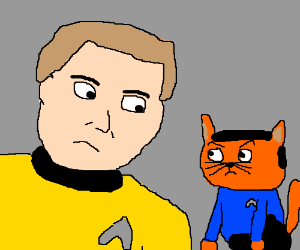 Captain Kirk and Kitty Spock staring contest
