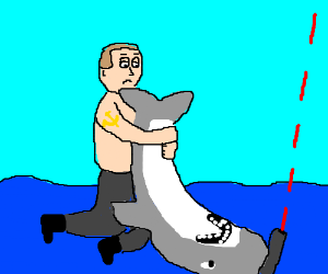 Putin pivedriving shark with laser on his head