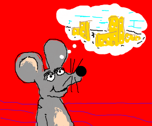 Mouse dreams of building with cheese.