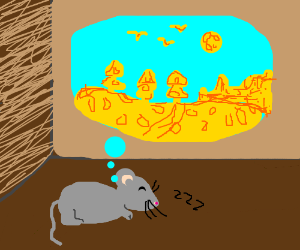 Mouse dreams of a landscape made of cheese.