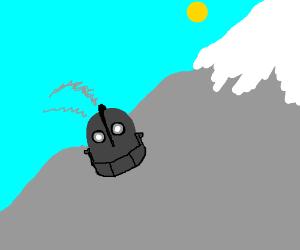 Smoking robot head left on mountainside