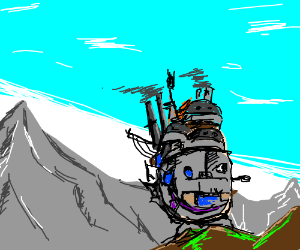 Howl's Moving Castle, moving among mountains.
