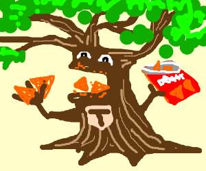Treeman snacks on Doritos.