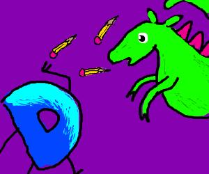 D throws pencils at dragon