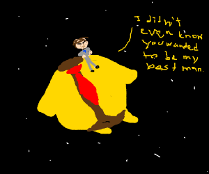 Guy on asteroid in yellow suit insulted
