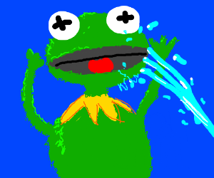 frog puppet gets shot in the face with water