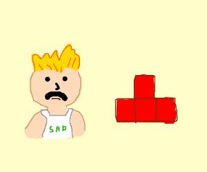 sad guy and a red Tetris piece