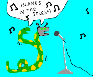 2 snakes with robot head's doing a duet