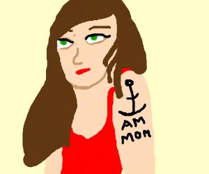 "Mom gets tattoo: ""I am mom"""