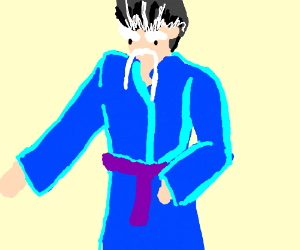 Old guy in a blue robe