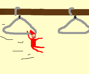 Tiny man swings from hangers