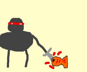 Suba ninja attacks fish