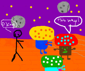 weird alien planet w/guy following 3 mushrooms