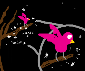 Pink bird on a magical tree branch