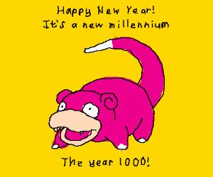 Slowpoke meme celebrates the new year.