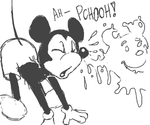 Mickey Mouse's snot resembles Winnie the Pooh.