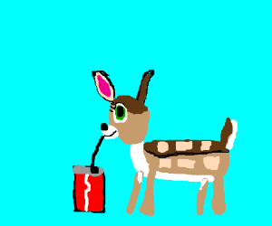 Bambi sips from Coca-Cola can w/ a long straw  - Drawception