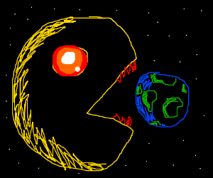 Pacman as a giant cheese smudge, eating earth