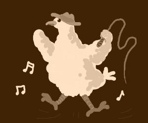 Cowboy chicken dances to music.