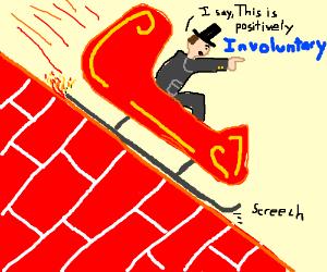 man sliding down the brick wall-involuntarily