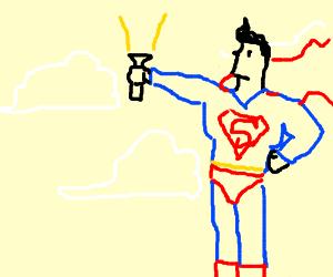 Superman heroically wields a flashlight