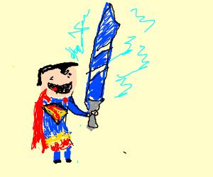 hero holds ice great sword