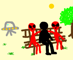 Weird Red aliens and black person