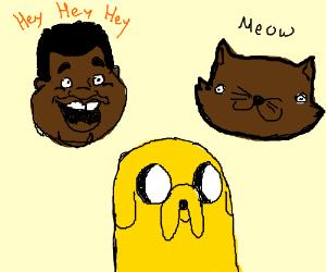 Fat Albert and brown cat, Jake.