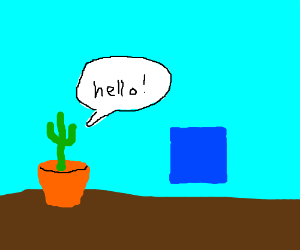 cactus in a pot greeting a blue square