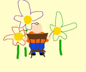 Fat Flower Playing Man