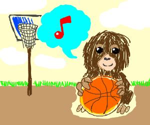 Orangutans playing Basketball