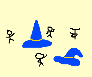 Stick figures dance by giant wizard hats.