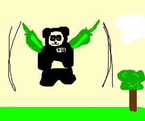 Bob, the panda with jalepenos as wings
