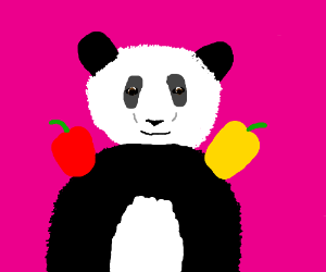 Jumping Panda w/ Capsicums on It's Shoulders