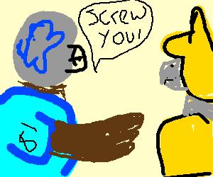 Megatron yelling at the yellow transformer