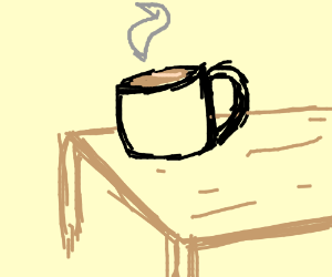 A hot cup of tea on a table