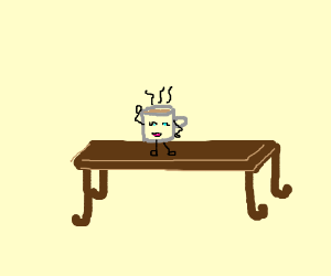 Hot drink on coffee table.