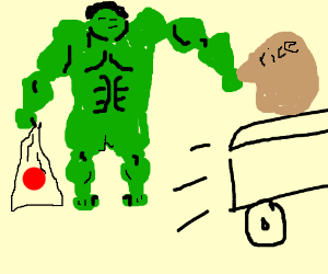 Japanesse hulk is crushing truck with rice