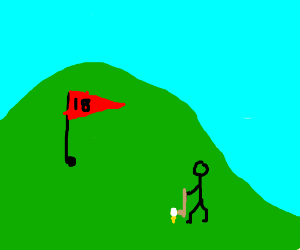 Playing golf on a hill.