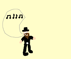Man in black whistling