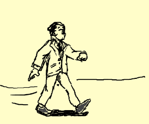 Well Drawn Man (Congrats!) Walking in a suit