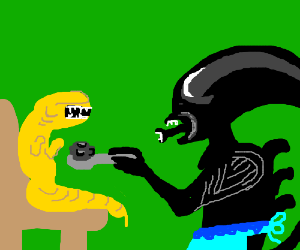 alien forcing child alien to eat his asteroids
