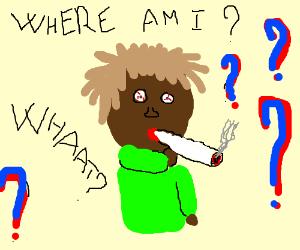 Man smoking a doobie is confused