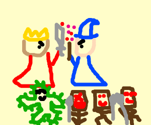 King and Mage duel, Cactuar and Tribe dance