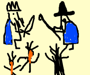 King Vs. Wizard, with Indians fighting a tree