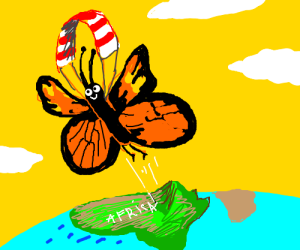 Butterfly leaves Africa with kite