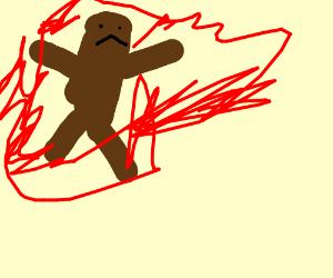 Gingerbread man on fire